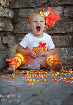 Baby Girl Halloween Outfit Candy Corn by DarlingLittleBowShop
