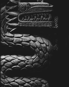 """Quetzalcoatl, the feathered serpent represents the duality inherent to the human condition, the """" Snake """" is physical body with its limitations and the """" feathers """" are the spiritual principles of knowledge, culture, philosophy and fertility… Native American Images, American Art, Aztec Pictures, Rune Knight, Aztec Statues, Feathered Serpent, Snake Art, Aztec Art, Mesoamerican"""