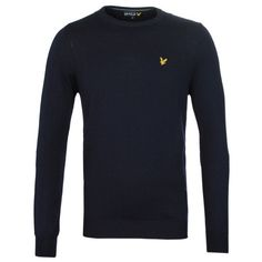 Mens Navy Lyle & Scott New Navy Long Sleeve Crew Neck Sweater –... via Polyvore featuring men's fashion, men's clothing and men's sweaters