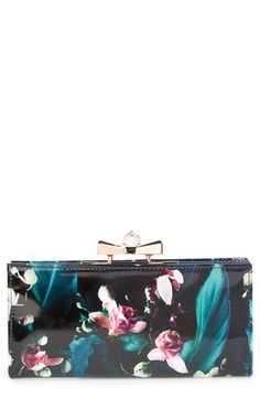 Floral Print Patent Leather Matinee Wallet