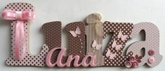 Nome decorado em MDF e Scrap personalizado para decoração de quarto, porta maternidade, festas... <br>Tema e cores a sua escolha