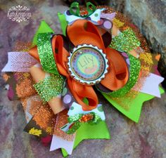 Fall Personlized Hair bow Hairbow .. PUmpkins by KattsKreations1