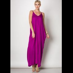 Magenta Harem Maxi Dress Vibrant magenta color, harem maxi length dress. Adjustable spaghetti stars. Slant side pockets. 95% rayon, 5% spandex. Made in U.S.A.. Brand new retail w/o tags. No trades, no holding, no offline/App transactions. ⚠️Confirm size availability prior to purchase.       PRICE IS FIRM UNLESS BUNDLED                  5% off bundles  Dresses Maxi