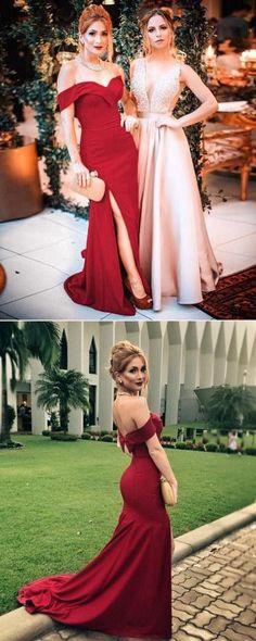 Burgundy Long Prom Dress, 2018 Prom Dress, Elegant Off The Shoulder Burgundy Mermaid Long Prom Dress With Side Slit, Formal Evening Dress Party Dress Senior Prom Dresses, Prom Dresses For Teens, Prom Dresses Online, Cheap Prom Dresses, Dress Prom, Simple Prom Dress, Perfect Prom Dress, Beautiful Prom Dresses, Mermaid Evening Dresses