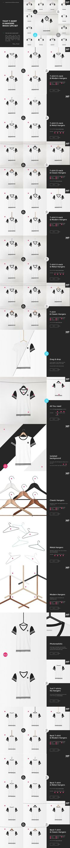 Tight T-shirt & Hangers Mock-ups Set. Business Infographic