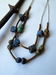 NEW  Necklace Handmade Ceramic Beads Double Strand