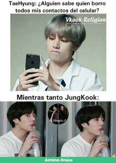 "Read from the story ¡Enamorado de mi Acosador!""༄! KookV,/ Taekook by (𝗦𝗰𝗲𝗻𝗮𝗿𝘆_🦁) with 366 reads. Memes Bts Español, Vkook Memes, Funny Memes, Foto Bts, Bts Photo, Bts Taehyung, Bts Jimin, Taekook, K Pop"