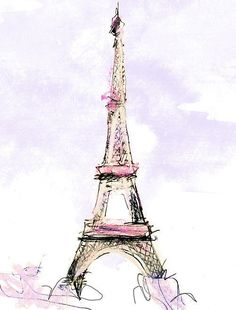 Eiffel Tower sketch... ooooh la la, tres chic. (I imagine this in my guest room.)