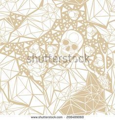 Skull with floral ornament. Vector illustration - stock vector