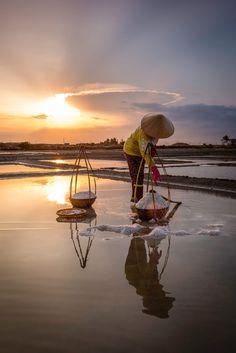 Salt worker, Nha Trang, Vietnam