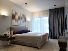 15 Beautiful Blackout Bedroom Curtains: Minimalist Bedroom Design With The Grey Curtain And Wall Light ~ Myzestyliving.com