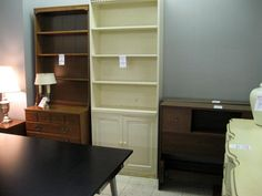 davids white bookshelf with cabinet