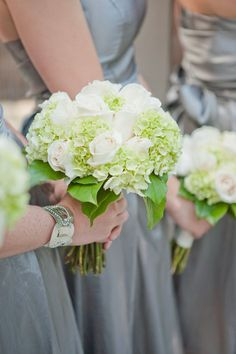 I like the idea of roses and green hydrangeas for a bridesmaid bouquet.