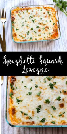 This easy spaghetti squash lasagna is a deliciously cheesy dinner! Made with just a few simple ingredients, this gluten-free, vegetarian lasagna is a tasty main dish! Use non dairy mozzarella and ricotta to make vegan. Healthy Food Recipes, Vegetable Recipes, Pasta Recipes, Low Carb Recipes, Healthy Snacks, Dinner Recipes, Cooking Recipes, Healthy Eating, Clean Eating