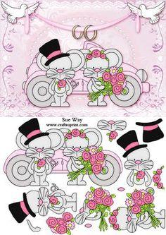 Cute Wedding Mice Bride and Groom Decoupage
