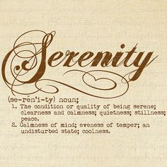 Serenity Definition Word Typography Digital Image Download Transfer To Pillows Totes Tea Towels Burlap No. 2477 SEPIA on Etsy, $1.00