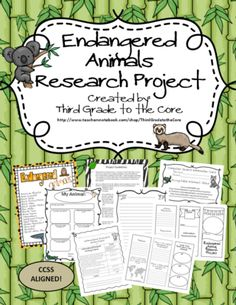 Endangered Animal Research Writing Project - Common Core Aligned from Third Grade to the Core on TeachersNotebook.com -  (12 pages)  - Engage your students in this exciting Writing Research Project. Have your students research the animal of their choice, write a research paper, and even create a trifold brochure.....CCSS aligned.
