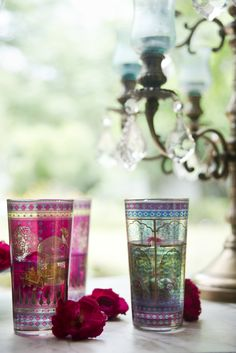 Serai Glasses, love the colours - Goodearth Decorating Blogs, Interior Decorating, Interior Styling, Interior Design, Good Earth India, Hookah Lounge, Earth Design, Diwali Gifts, Indian Homes