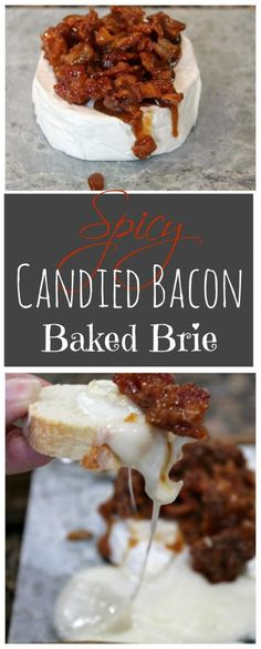 SPICY CANDIED BACON BAKED BRIE  -  If you are looking for an ooey gooey cheesy appetizer - you can stop looking now.  This baked brie appetizer is everything you want/need a bit of heat, a bit of sweet, crunch and oozing cheese!