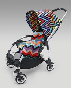 The luxury stroller company, Bugaboo will release beautiful Missoni prints in July. While a bright block print embellishes the Bugaboo Cameleon sun cover, the vivacious zigzags beautifies the Bugaboo Bee sun canopy. Missoni, Bugaboo Bee Stroller, Baby Strollers, Babyshower, Baby Carriage, Stylish Baby, Prams, Baby Gear, Future Baby