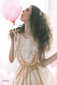party dress and pink balloon
