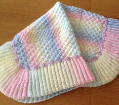 Pretty baby blanket using three different but easy knitting stitches. The added trimming is optional and uses in the region of three metres