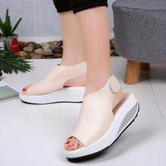 86c3ce6d6a Casual Microfiber Leather Wedge Heel Magic Tape Sandals