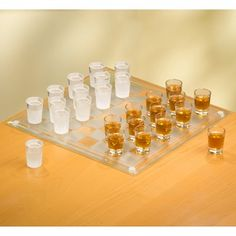 Crystal Clear Game Night Checkers Shot Glass Set in Clear and White