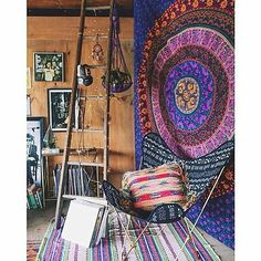 Indian Wall Hanging Hippie Mandala Tapestry Bohemian Bedspread Ethnic Dorm Decor is part of Bohemian Living Room Bedspreads - Mandala Hippie Tapestry Wall tapestry Hippie Bedding, Bohemian Bedspread, Ibiza Stil, Interior Flat, Interior Design, Attic Design, Deco Boheme Chic, Quilt Set, Mandala Tapestry