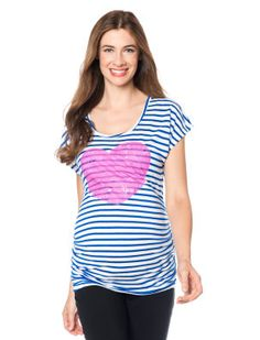 Short Sleeve Scoop Neck Side Ruched Maternity T Shirt