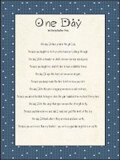 Heather's Heart: One Day....what we REALLY are teaching
