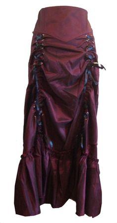 Vielseitig, Gothic/Steampunk Stil Rüschenrock mit Korsett Schnürung in Schwarz oder Burgund. Größen 36-58: Amazon.de: Bekleidung