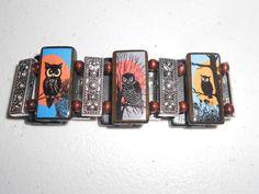 Owl Bamboo Tile Collage Bracelet by AlteredTileDesigns on Etsy