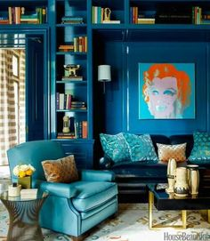 Blue Living Room Decor - What should I put on my living room walls? Blue Living Room Decor - How should I arrange my living room furniture? Home Library Design, House Design, My Living Room, Living Room Decor, Fine Paints Of Europe, Dining Room Curtains, Cool Bookshelves, Bookcases, Bookshelf Wall