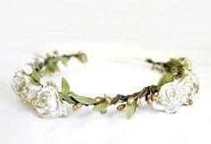 White Gold Rose Floral Crown, Flower Crown. Woodland, Spring, Hair Wreath, Bridal, Hair Accessories, Floral, Bohemian Halo