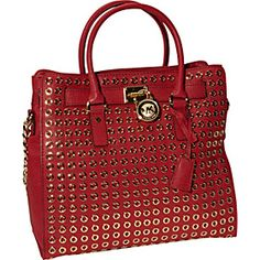 MICHAEL Michael Kors Hamilton Grommet Large NS Tote - Red - via eBags.com!