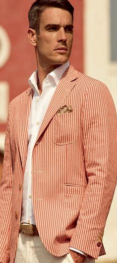 coral seersucker - maybe next Spring/Summer Sharp Dressed Man, Well Dressed Men, Stylish Men, Men Casual, Smart Casual, Fashion Moda, Mens Fashion, Style Fashion, Looks Style