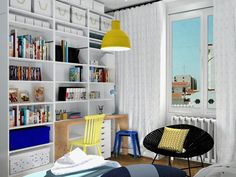 Chambre garçon,  étageres Ikea, image virtuelle 3d