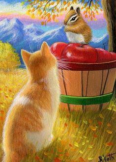 Kitten cat chipmunk wildlife apples autumn fall mountains original aceo painting #Realism
