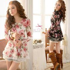 Hot Women Chic Crew Neck Rose Pattern Lace shirt Tops Mini Dress free shipping 2 Colors