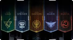 BATTLETECH The emblems of the five Great Houses of the Inner Sphere.