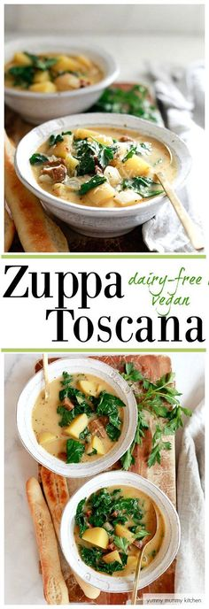 Zuppa Toscana is an easy one-pot dinner inspired by Olive Garden's famous recipe. This healthy version is #vegan #vegetarian and #diaryfree.