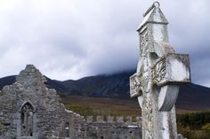 Murrisk Abbey was founded in 1457 at the foot of Croagh Patrick overlooking Clew Bay and built on the site of a previous church founded by St. Grace O'malley, St Patrick, Mount Rushmore, Natural Beauty, Ireland, Remote, Scenery, River, Mountains