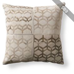 Cube Natural Hide Throw Pillow