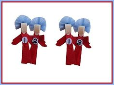 2pc Set Dr. Suess Thing One and Thing Two Hair Bow Clips * To view further for this item, visit the image link.