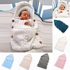 Newborn Baby Infant Knit Crochet Swaddle Wrap Blanket Sleep Crib Stroller Bag