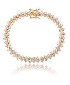 pulseira riviera de luxo dourada com zirconia brancas semijoias online