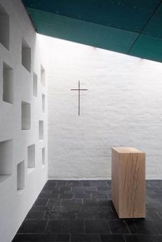 Interior of Chapel of St Lawrence, Finland. Avanto Architects, designed 2003, consecrated 2010.