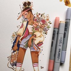 Here's a busy flower delivery girl for you ! 🌻 I made a process video of this illustration, I'll let you know in my story when it's… Copic Marker Art, Copic Art, Pretty Art, Cute Art, Watercolor Free, Character Art, Character Design, Posca Art, Creation Art