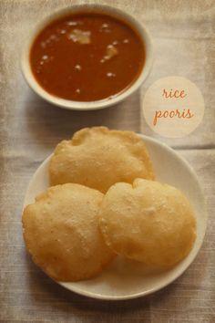 rice pooris recipe - crisp as well as soft pooris made with rice flour. gluten free and vegan recipe.